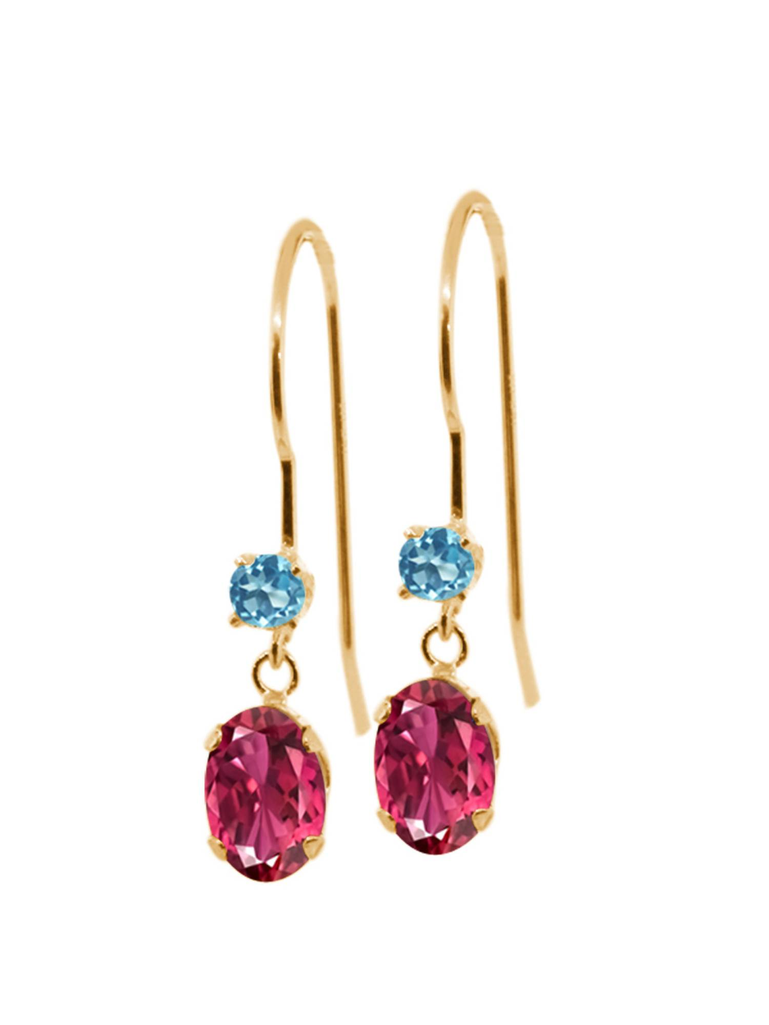 1.16 Ct Oval Pink Tourmaline Swiss Blue Simulated Topaz 14K Yellow Gold Earrings by