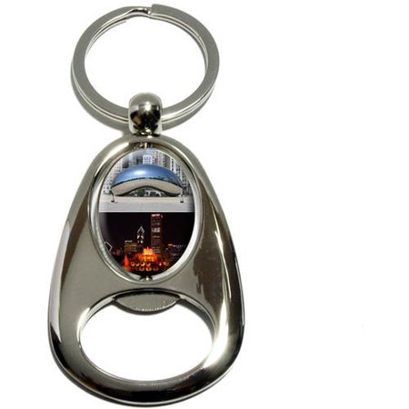 Chicago, Bean Buckingham Fountain City Skyline, Chrome Plated Metal Spinning Oval Design Bottle Opener Keychain Key Ring