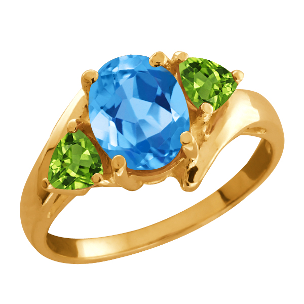 2.02 Ct Oval Swiss Blue Topaz and Peridot Gold Plated Silver Ring