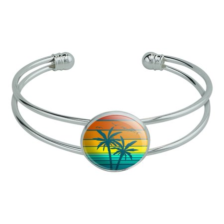 Sunset with Palm Trees Graphic Novelty Silver Plated Metal Cuff Bangle Bracelet