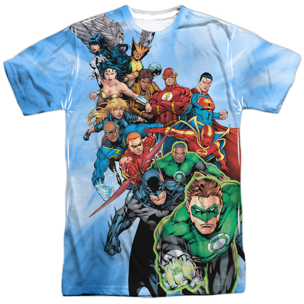 Justice League JLA DC Comics Series The Whole League Adult Front Print T-Shirt