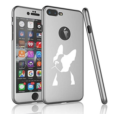 360° Full Body Thin Slim Hard Case Cover + Tempered Glass Screen Protector for Apple iPhone Boston Terrier Face (Silver, for Apple iPhone 7 / iPhone (Glasses For Slim Face)