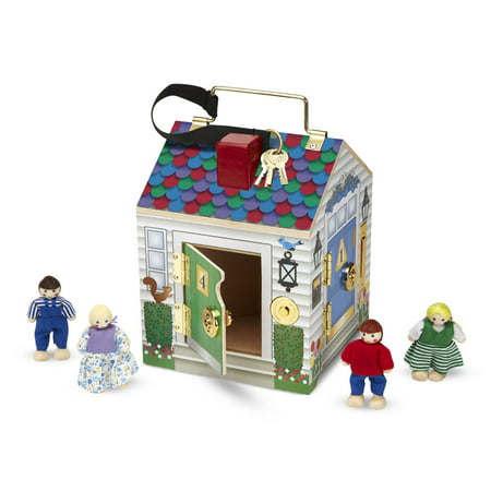 Melissa & Doug Take-Along Wooden Doorbell Dollhouse (Doorbell Sounds, Keys, 4 Poseable Wooden Dolls, 9
