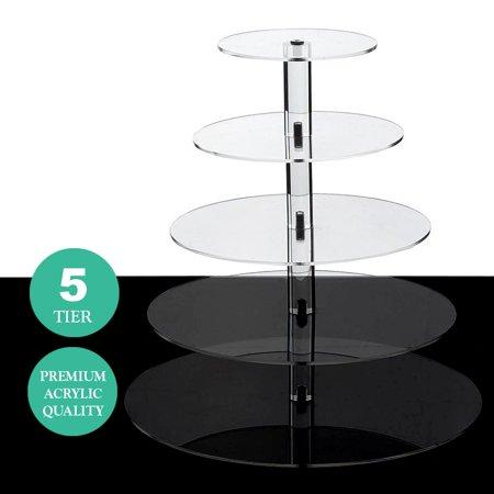 BalsaCircle 5 Tiers Clear Premium Crystal Acrylic Cupcake Stand