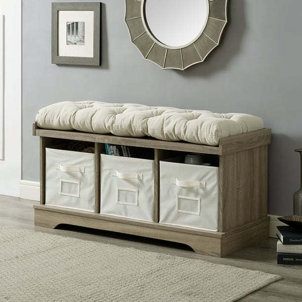 Sage Grey Wash Entryway Storage Bench by Desert Fields