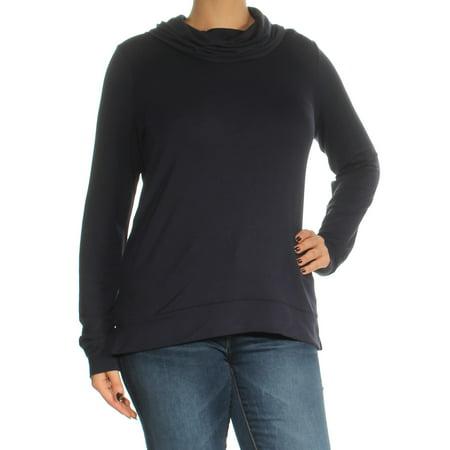 RALPH LAUREN Womens Navy Long Sleeve Cowl Neck Top Size: L