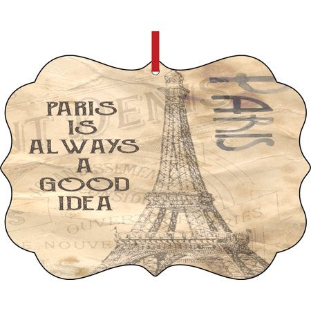 Paris is Always a Good Idea Eiffel Tower Vintage Style Double Sided Elegant Aluminum Glossy Christmas Ornament Tree Decoration - Unique Modern Novelty Tree Décor Favors