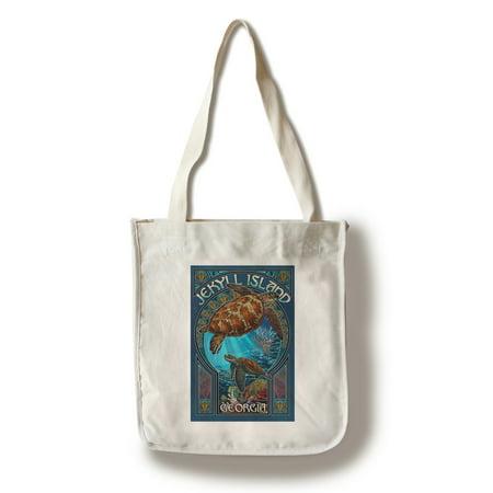 Jekyll Island, Georgia - Sea Turtle Art Nouveau - Lantern Press Poster (100% Cotton Tote Bag - Reusable) (Sea Island Cotton Antibacterial)