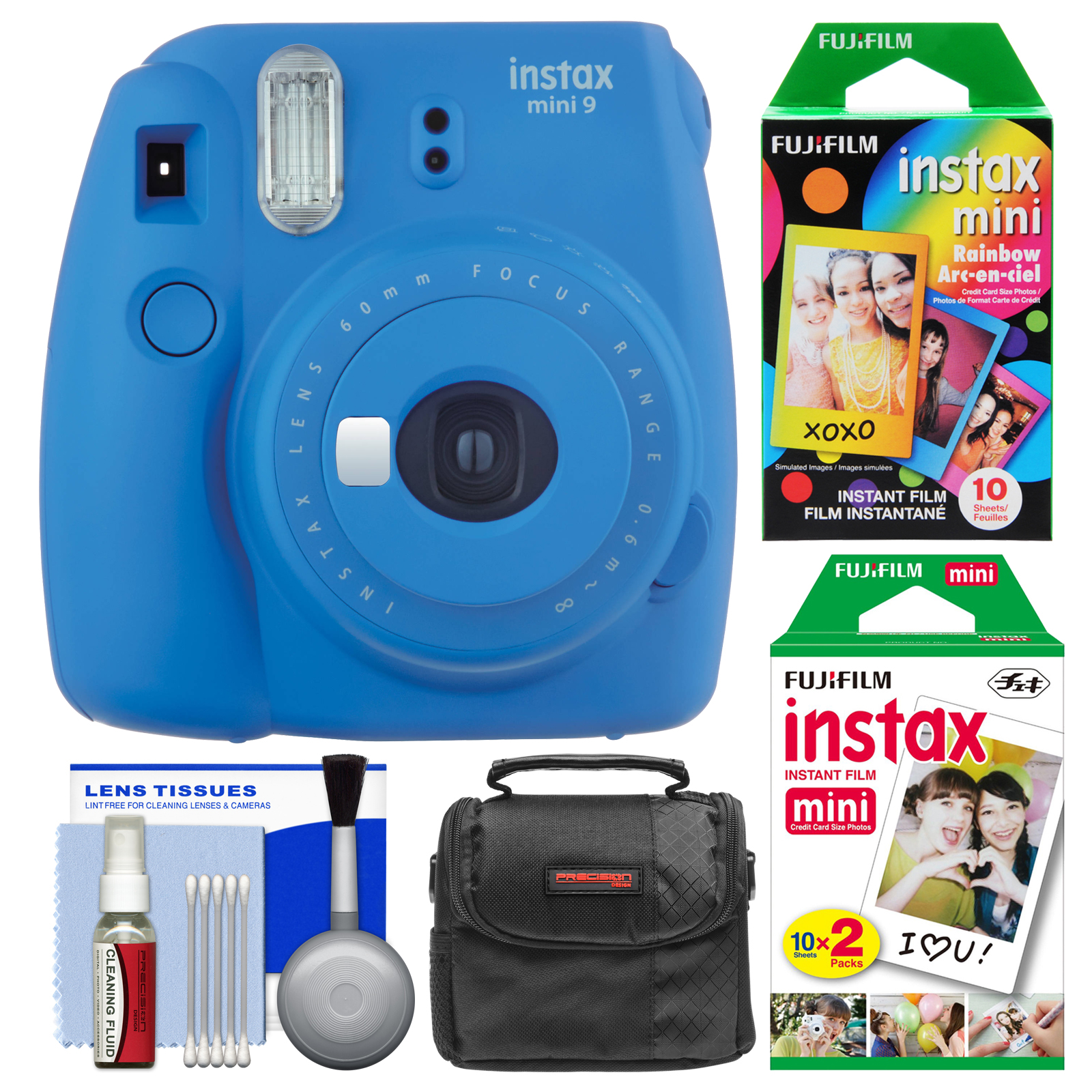 Fujifilm Instax Mini 9 Instant Film Camera (Smokey White) with 20 Twin & 10 Rainbow Prints + Case + Cleaning Kit