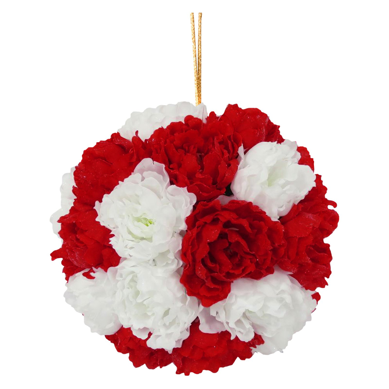 """12"""" Red and White Peony Hanging Ball"""