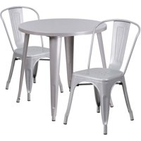 """Bowery Hill 3 Piece 30"""" Round Metal Patio Dining Set in Silver"""