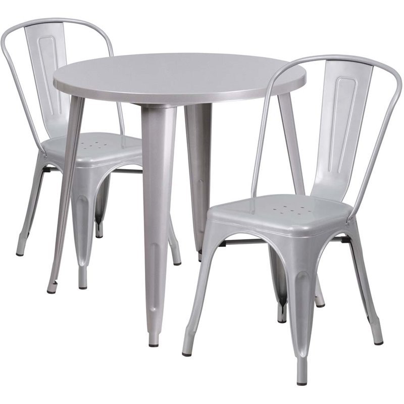 "Bowery Hill 3 Piece 30"" Round Metal Patio Dining Set in Silver"