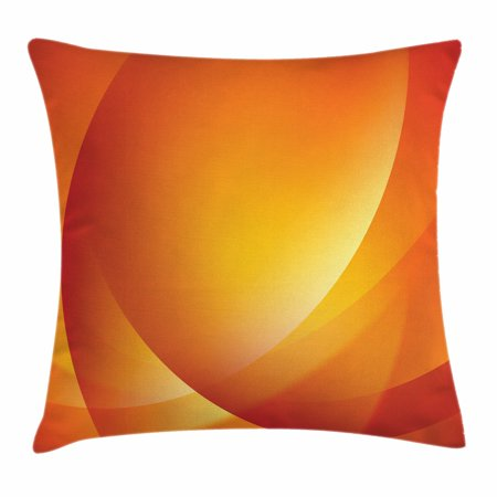 Orange Throw Pillow Cushion Cover, Colorful Smooth Twist Lines Sun Abstraction Energy Flow Waves Curves Art, Decorative Square Accent Pillow Case, 16 X 16 Inches, Dark Orange Yellow, by (Abstract Decorative Art)