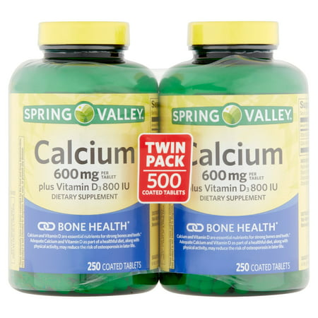 Spring Valley Calcium Supplement 600 mg with Vitamin D, 250 ct Twinpack