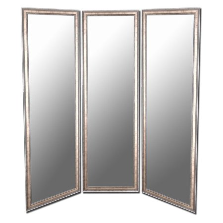 Soft gold and silver full length free standing tri fold for Gold standing mirror