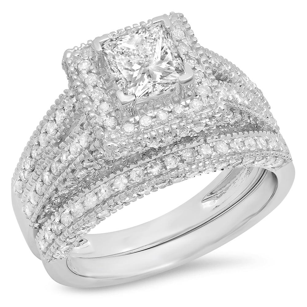 2.00 Carat (ctw) 14K Gold Princess & Round White Diamond Vintage Bridal Engagement Ring Set 2 CT