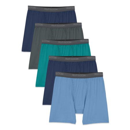 Fruit Of The Loom Men's Micro-Stretch Assorted Boxer Briefs, 5 Pack, Blue/Green, Size Small
