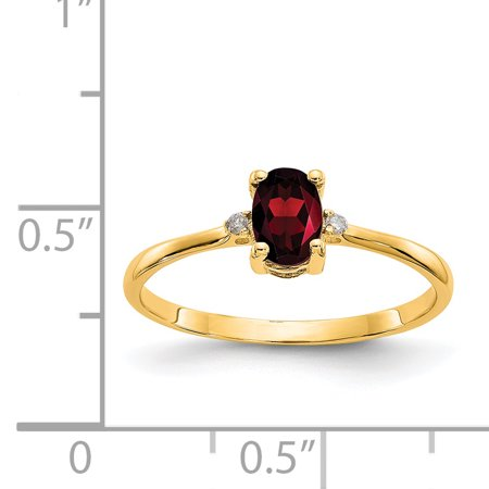 14k Yellow Gold Diamond Red Garnet Birthstone Band Ring Size 6.00 Stone January Oval Fine Jewelry For Women Gifts For Her - image 1 de 6