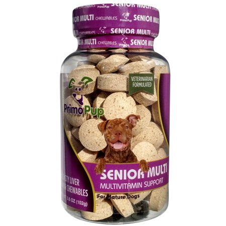 SENIOR DOG MULTIVITAMIN | Primo Pup Vet Health | Supports Physical and Mental Wellbeing | Vet Formulated | Easy to Digest | No Artificial Colors, Flavors, or Grains | Made in the USA | 60