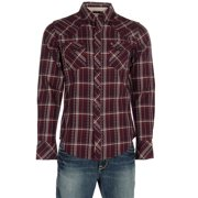 Stetson Apparel Mens   Brushed Twill Plaid Long Sleeve Snap Shirt M Burgundy