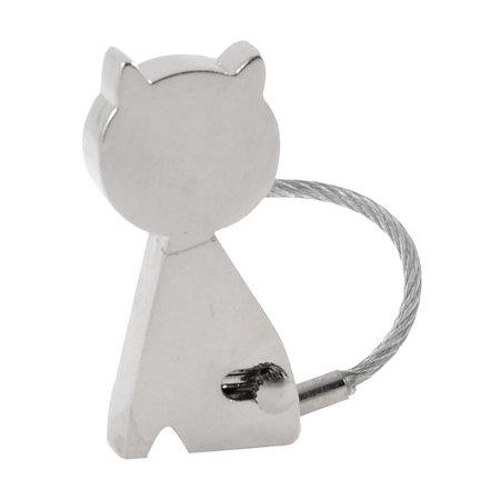 Zinc Alloy Cat Skipping Rope Keychain Key Ring Hanger Decor Silver Tone ()