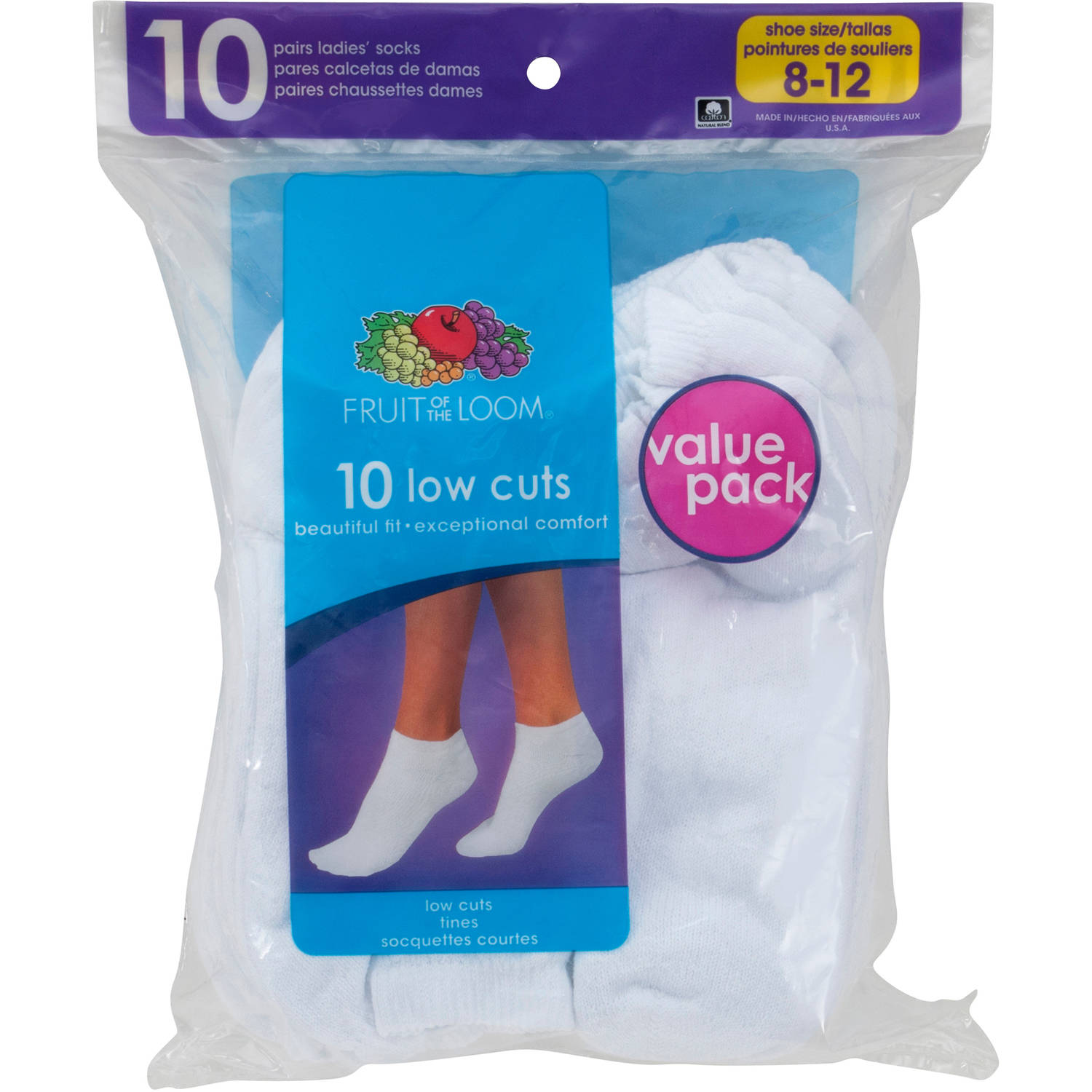 Fruit of the Loom Womens Value Pack Low Cut Socks, 10 Pairs