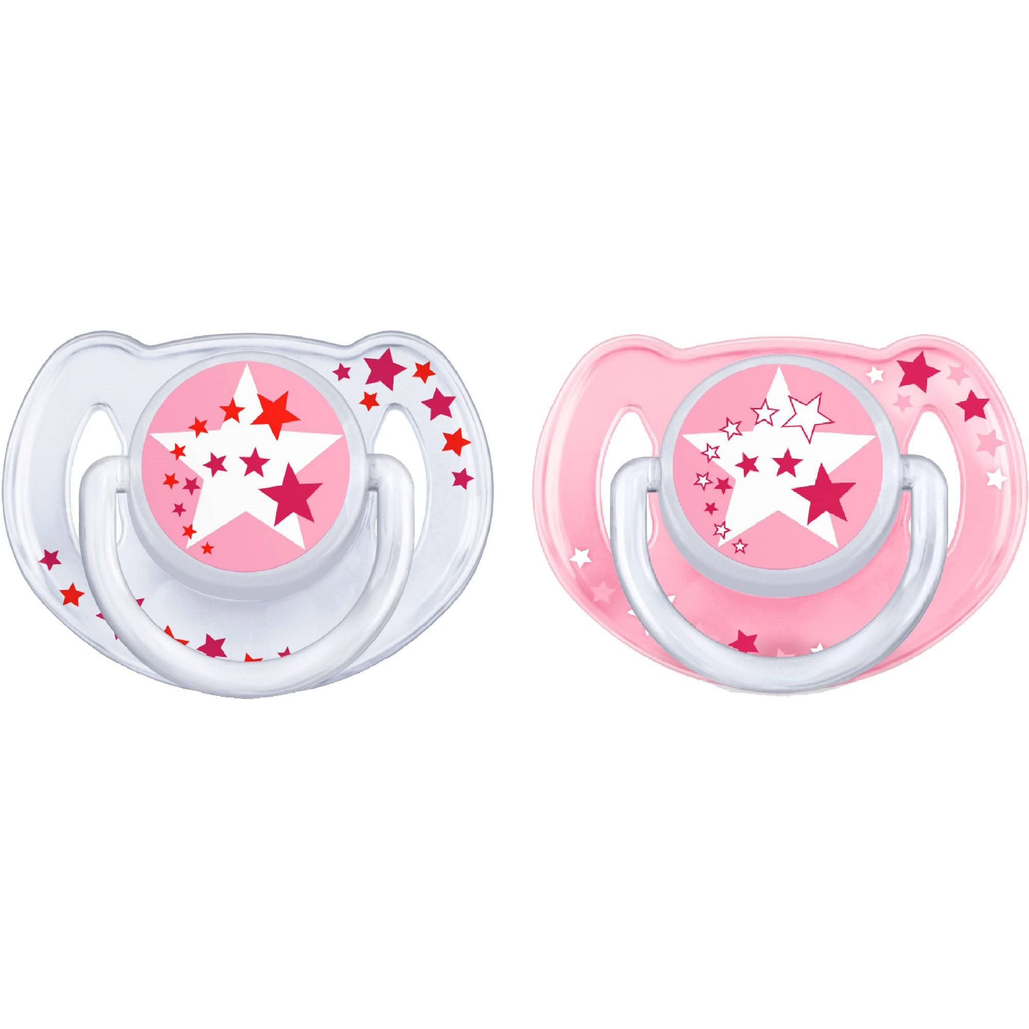 Philips Avent Glow in the Dark Orthodontic Pacifier, 6-18 months, Pink, 2 pack, SCF176/24