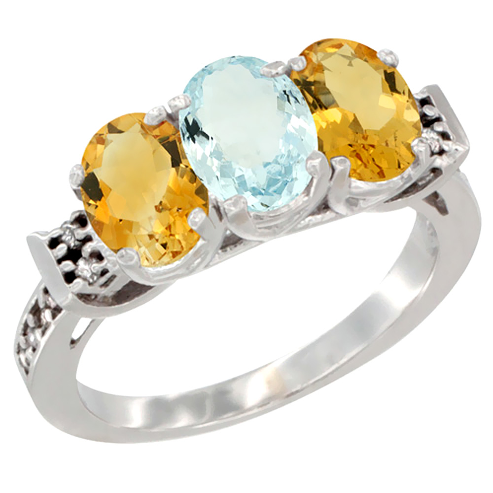 14K White Gold Natural Aquamarine & Citrine Sides Ring 3-Stone 7x5 mm Oval Diamond Accent, sizes 5 - 10