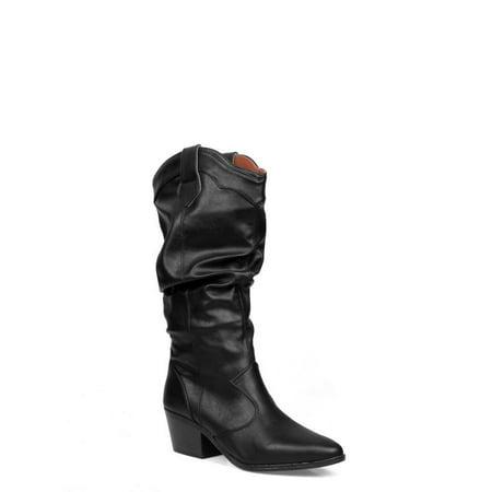 Shoelala Slouchy Women's Pull On Boots in Black