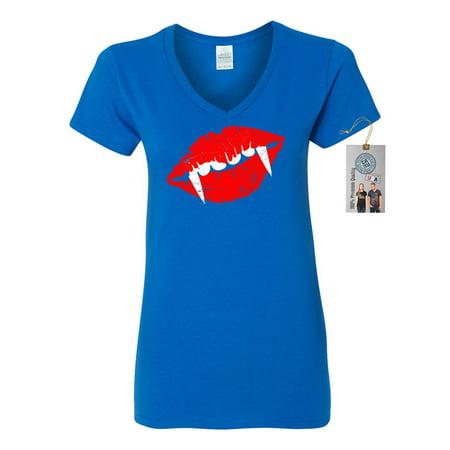Draculas Lips Teeth Halloween Shirt Womens V Neck T-Shirt Top](Black And White Halloween Lips)