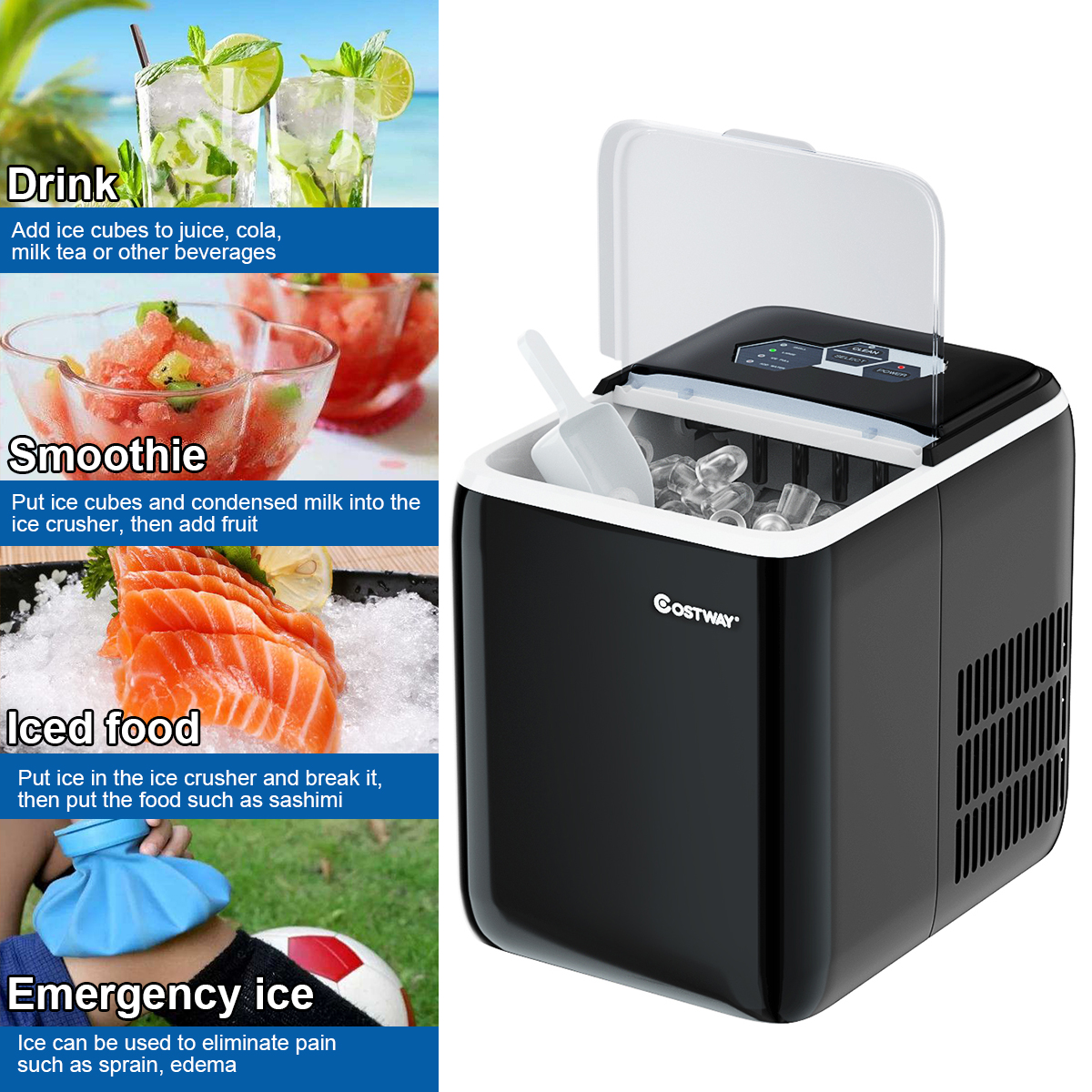 Party and Bar Bullet Ice Cubes Ready in 8 Mins Office Green 26LBS//24H portable Ice Machine with Self-cleaning Function COSTWAY Ice Maker for Countertop Scoop and Removable Basket for Home