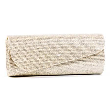 Damara Womens Oblique Flap Glitter Clutch Handbags (Gold) - image 1 of 1