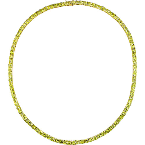 46-1/3 Carat T.G.W. Round Yellow Cubic Zirconia Sterling Silver Tennis Necklace, 17""