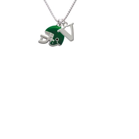 Silvertone Small Green Football Helmet Capital Initial V Necklace - Small Football Helmets
