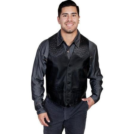 Pocket Ostrich - Scully Western Vest Mens Button Leather Ostrich Pockets Onyx 607-175