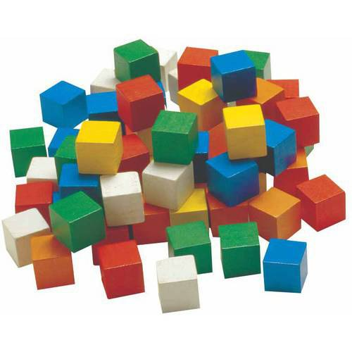 Wooden Color 1In Cubes 100Pk