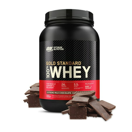 Optimum Nutrition Gold Standard 100% Whey Protein Powder, Extreme Milk Chocolate, 24g Protein, 2 LB
