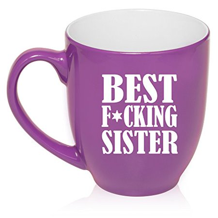 16 oz Large Bistro Mug Ceramic Coffee Tea Glass Cup Best F ing Sister