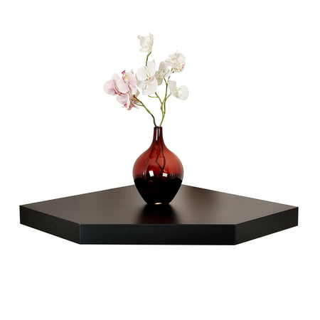WELLAND 20  Phoenix Wall Floating Corner Shelf, Black The WELLAND 20  Phoenix Wall Floating Corner Shelf has simple design yet provides versatile uses. It is great for displaying your favorite d?cor piece, storing books, and holding electronics. Space left between the shelf and wall allows cords to go through. The minimal black finish and clean lines make decorating different design scemes easy. The shelf has no visible screws or brackets, leaving a floating appearance. Installation is made simple with included hardware and instruction. This piece is great for the livingroom to hold TV accessories, for the kitchen to store recipe books, for the kids' room to store stuffed animals, or for the bathroom to store towels. It will enhance aesthetic and functionality of any corners. Made with laminated MDF, study construction and sleek black finish.