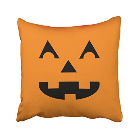 WinHome Cute Vintage Halloween Cartoon Pumpkin Face Laughing Out Loud Simple Pattern Polyester 18 x 18 Inch Square Throw Pillow Covers With Hidden Zipper Home Sofa Cushion Decorative Pillowcases