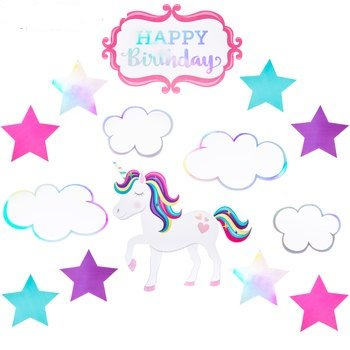 Unicorn Birthday Cutouts Party Supplies 14 Count Kids Party Theme for $<!---->