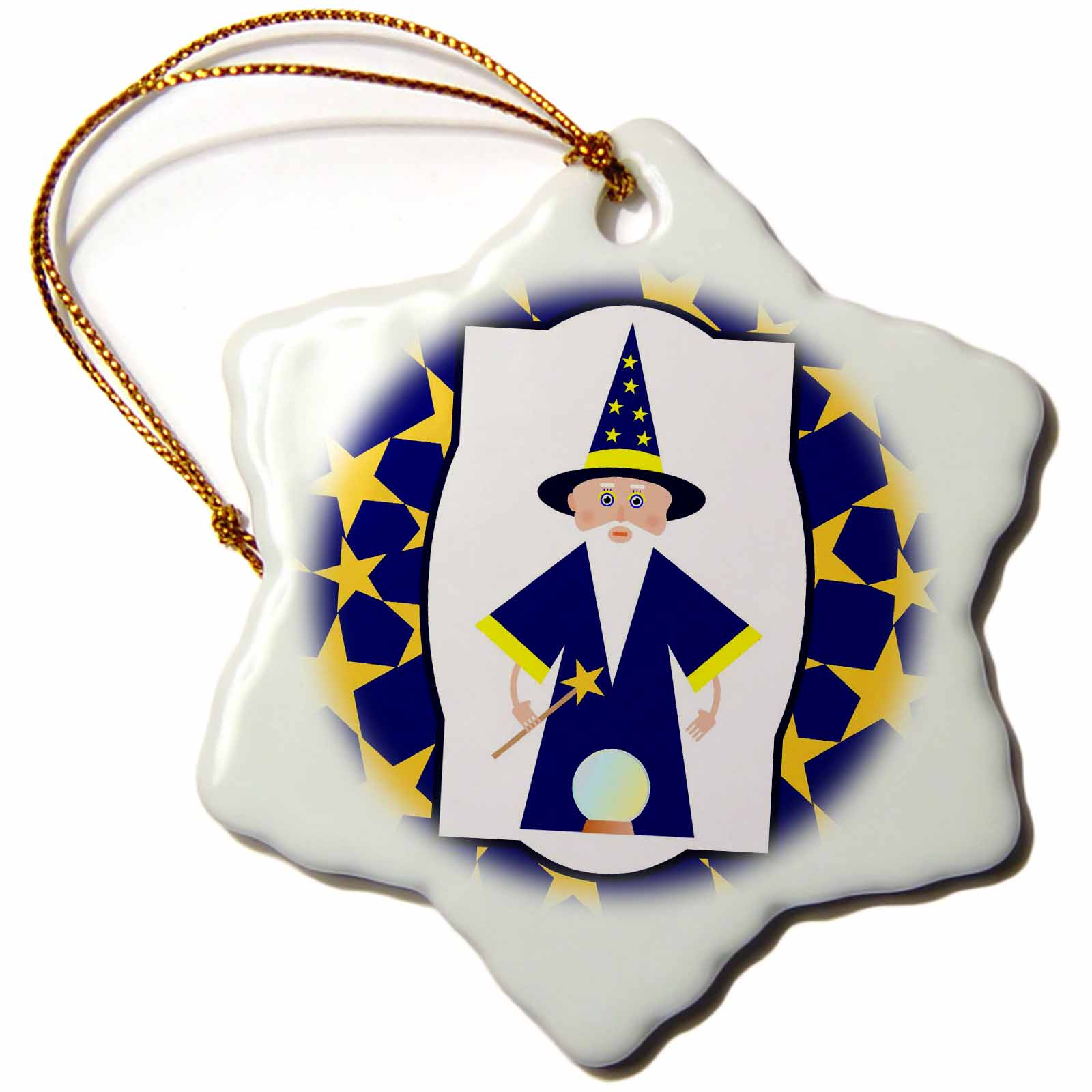 3dRose Wizard dressed in blue with magic wand and magic globe, Snowflake Ornament, Porcelain, 3-inch