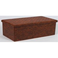 Home Source Andersen Brown Woven Large Folding Storage Ottoman