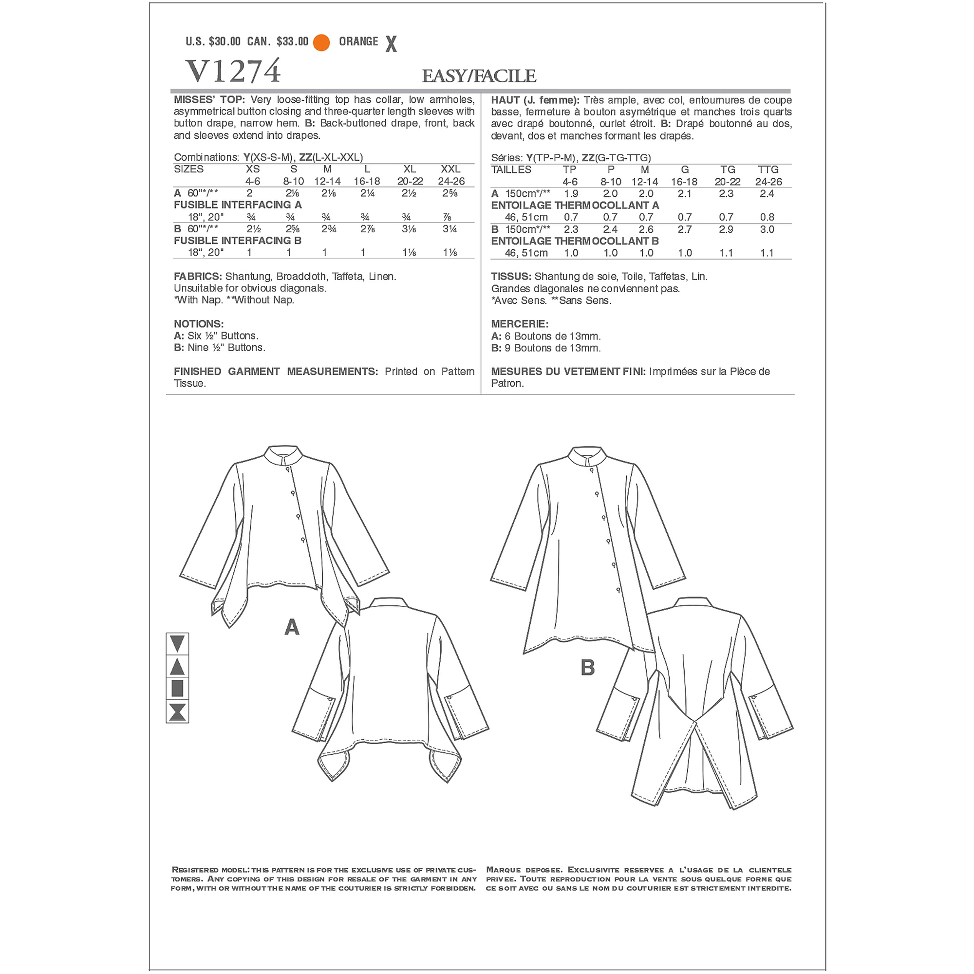 Vogue Pattern Misses' Top, ZZ (L, XL, XXL)