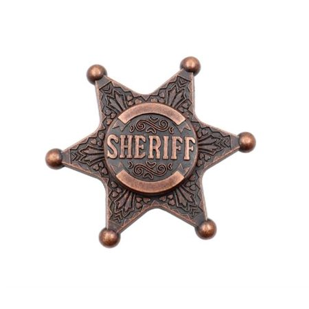 HIGH SPEED FIDGET SPINNER VINTAGE SHERIFF BADGE METAL HAND SPINNER STRESS REDUCER, ANXIETY RELIEF TOYS