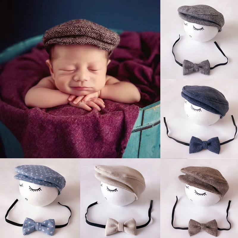 Newborn Baby Girl Hat Cotton Baby Bow Beanie Spring Infant Hats for Girls 0-6Months