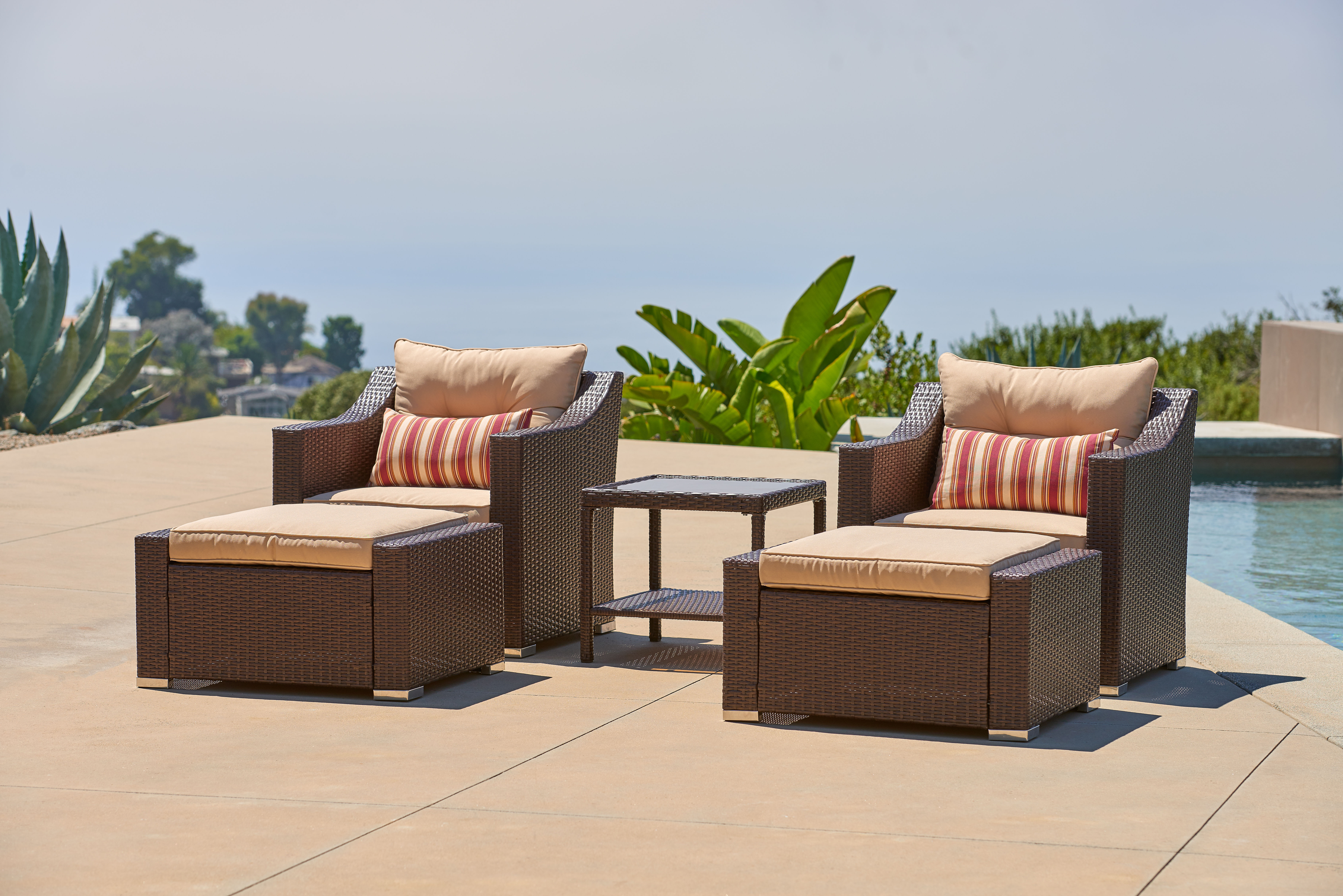 Suncrown Outdoor Wicker Chairs With Ottoman Foot Rests And Glass Top Table  (5 Piece