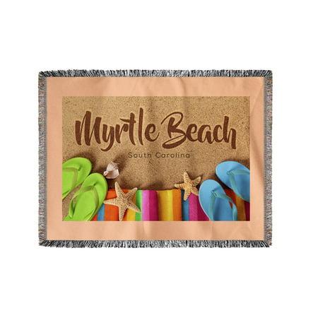 South Carolina Flip Flops - Myrtle Beach, South Carolina - Flip Flops on Beach - Lantern Press Photography (60x80 Woven Chenille Yarn Blanket)