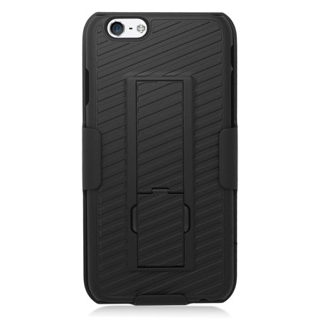 Insten Hard Hybrid Silicone Stand Case with Holster for iPhone 6 / 6s - Black - image 1 of 3