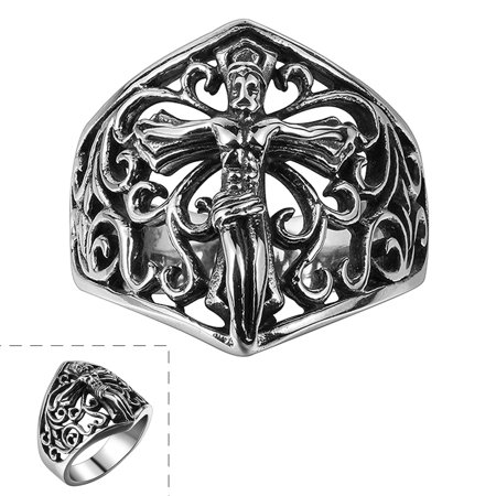- 316L Stainless Steel Men Vintage Jewelry Jesus Cross Modelling Punk Rings for Xmas Birthday Gift